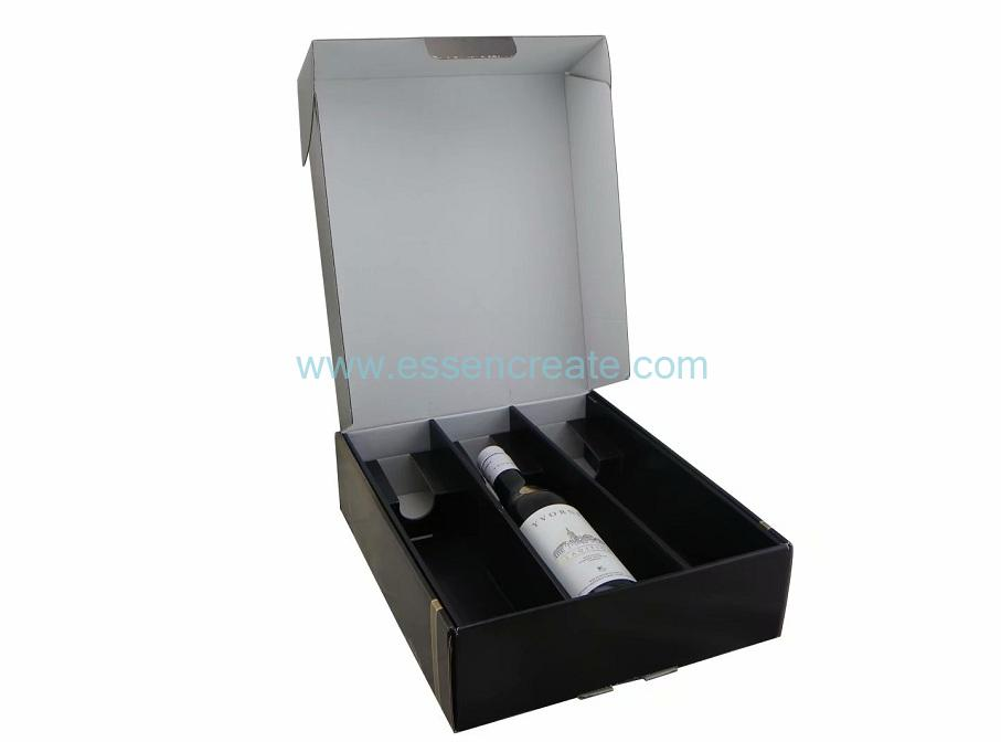 Three Wine Bottle Packaging Corrugated Foldable Gift Box