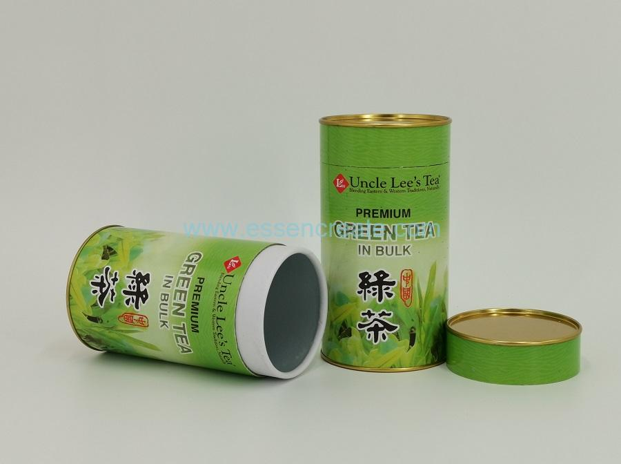 Green Tea Packaging Round Box with Double Lids
