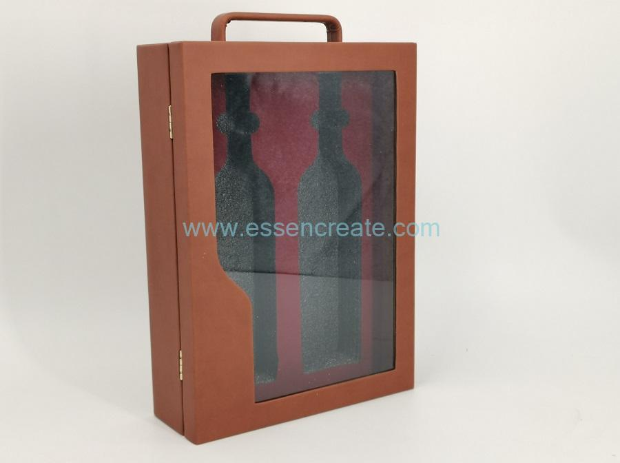 Two Wines PU Leather Holder Box with Clear Window