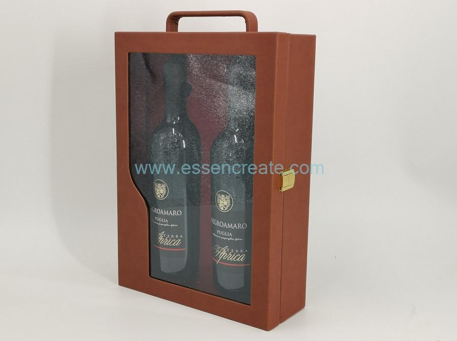 Wine Leather Case Holders with Window