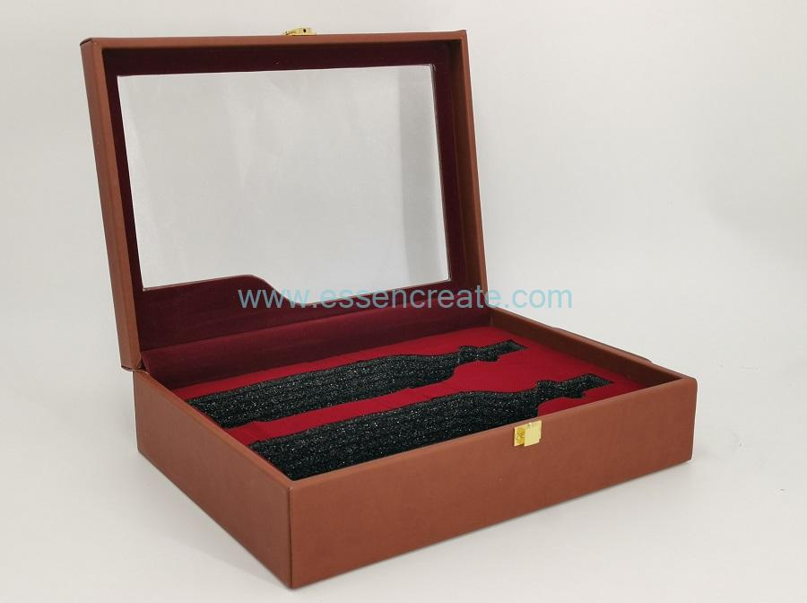 Two Wine Bottles Leather Box with Metal Locks