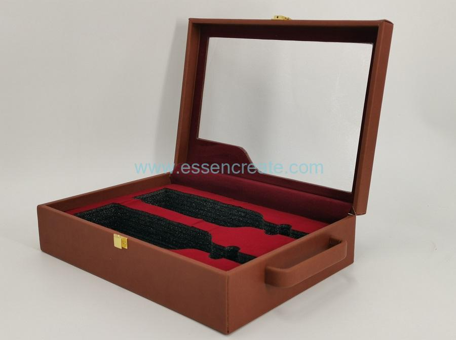 Luxury Wine Leather Box with Unfoldable Handle