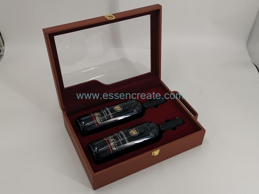 Two Bottles Display Packaging Leather Holder Box