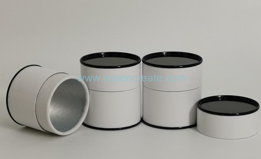 Black Tin Lid White Curled Edge Paper Tube