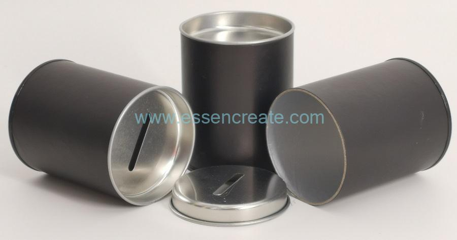 Cylinder Canister with Metal Coin Slot