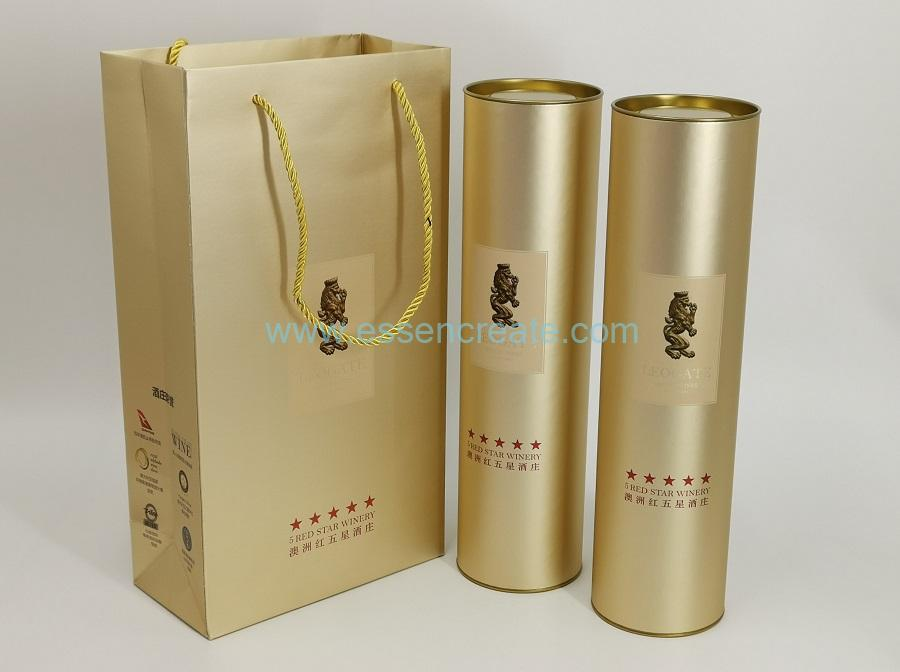 Yellow Tin Gold Card Printing Wine Packaging Tube