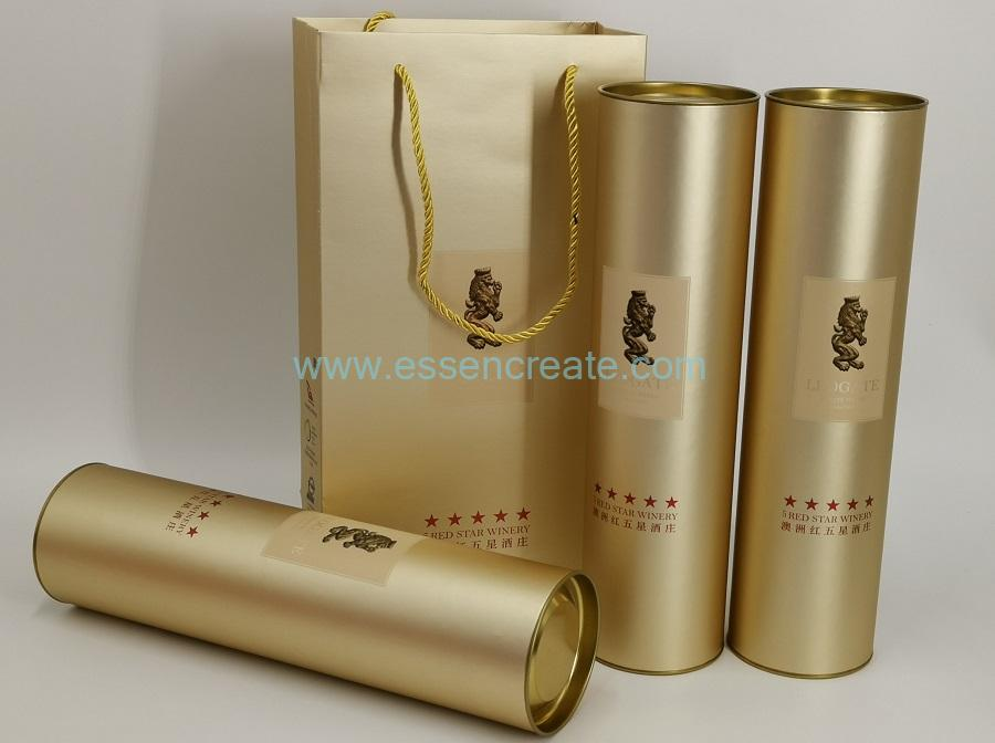 Wine Packaging Tube with Metal End