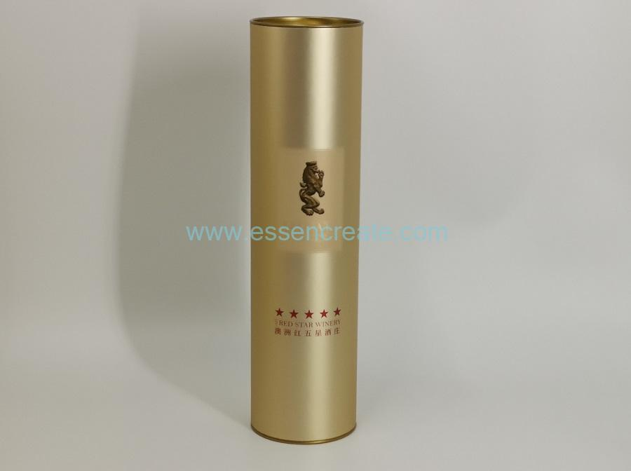 Round Cardboard Black Tube Wine Packaging