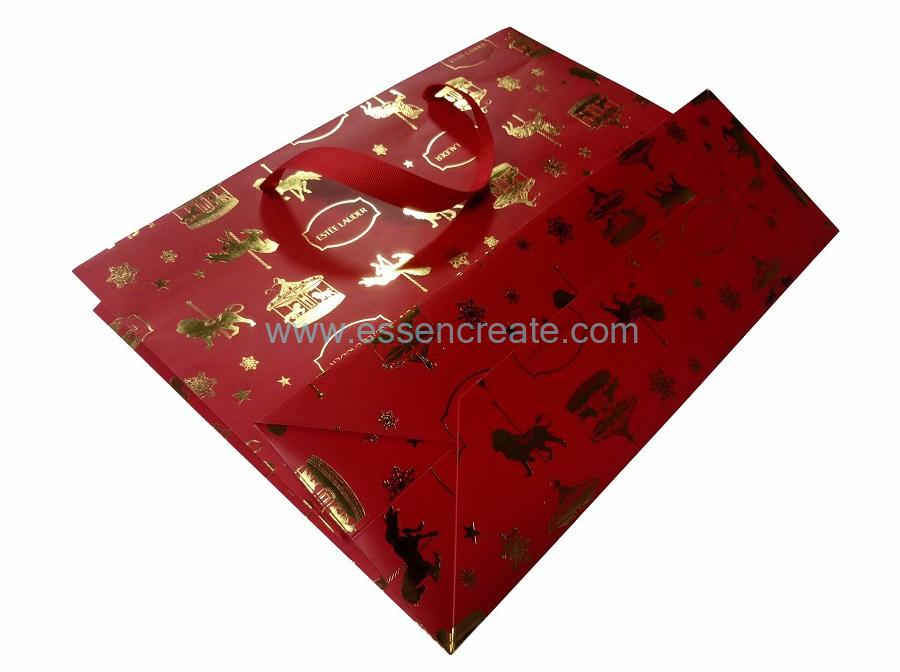 Christmas Gift Luxury Paper Bags with Hot Stamping