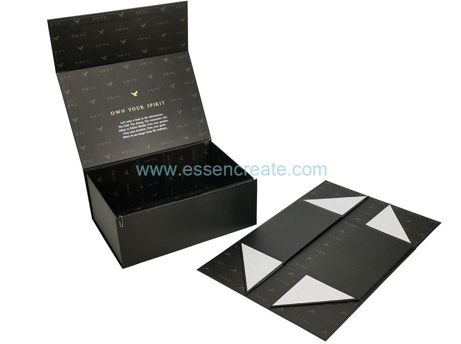 Black Foldable Wine Glass Packaging Magnetic Gift Box