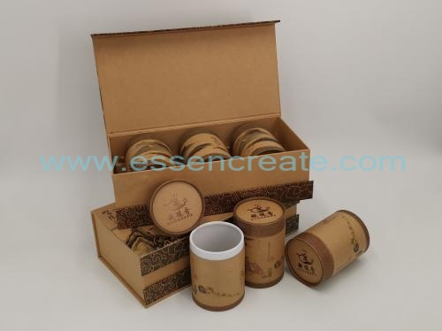 Kraft Tea Gift Box with Paper Cans