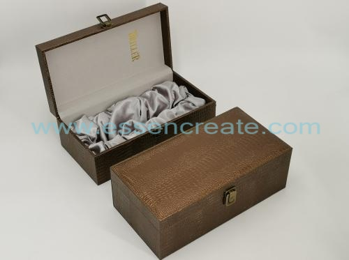 Crocodile Leather Wine Box Holders with Satin