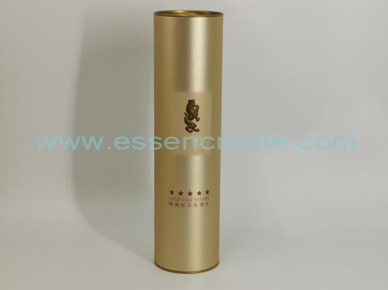 Wine Packaging Tube with Yellow Metal Tin End